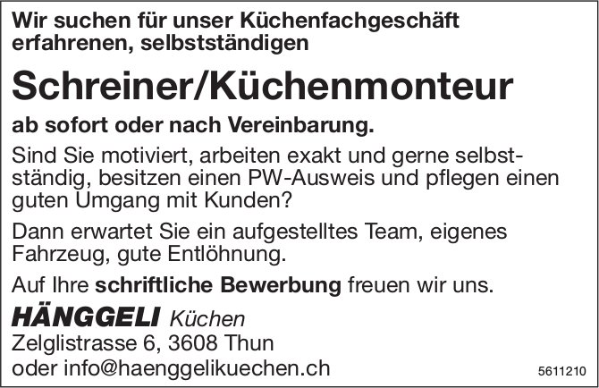Schreiner/Küchenmonteur, Hänggeli Küchen, Thun, gesucht