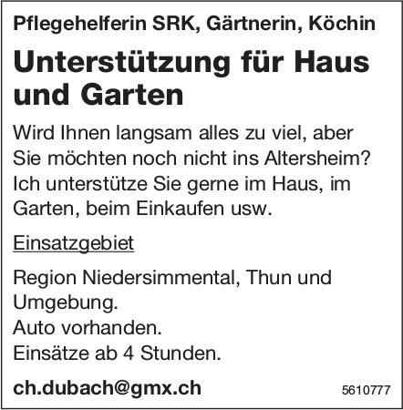 Unterstützung für Haus und Garten, Region Niedersimmental, Thun   & Umgebung.