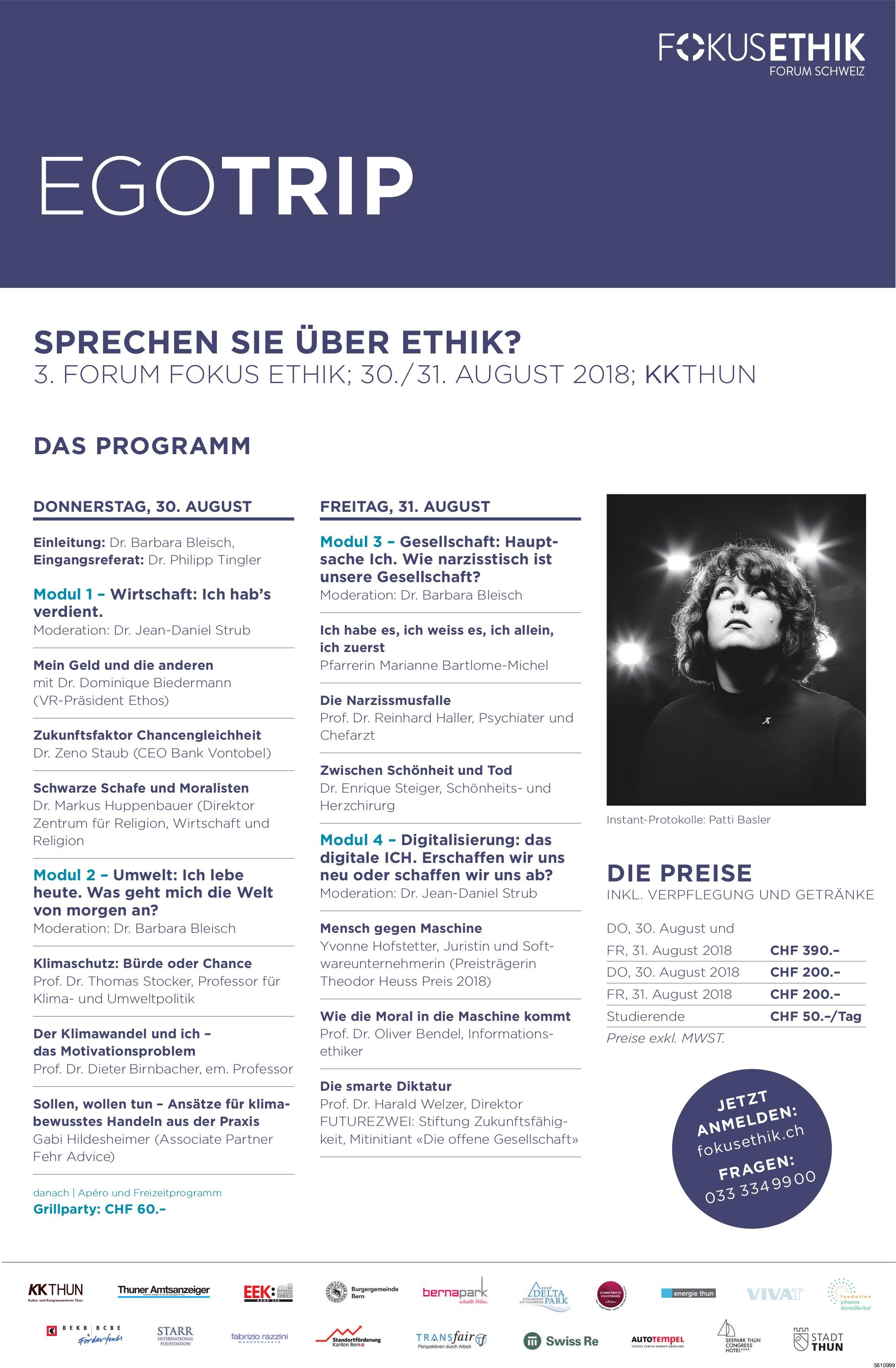 3. Forum Fokus Ethik, 30./31. August, KK Thun