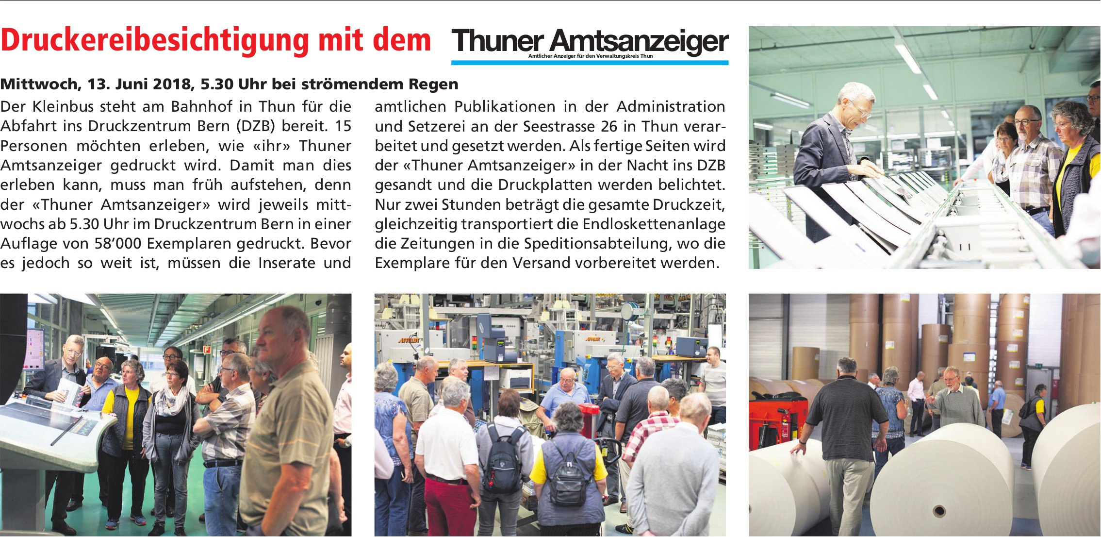 Druckereibesichtigung mit dem Thuner Amtsanzeiger am 13. Juni