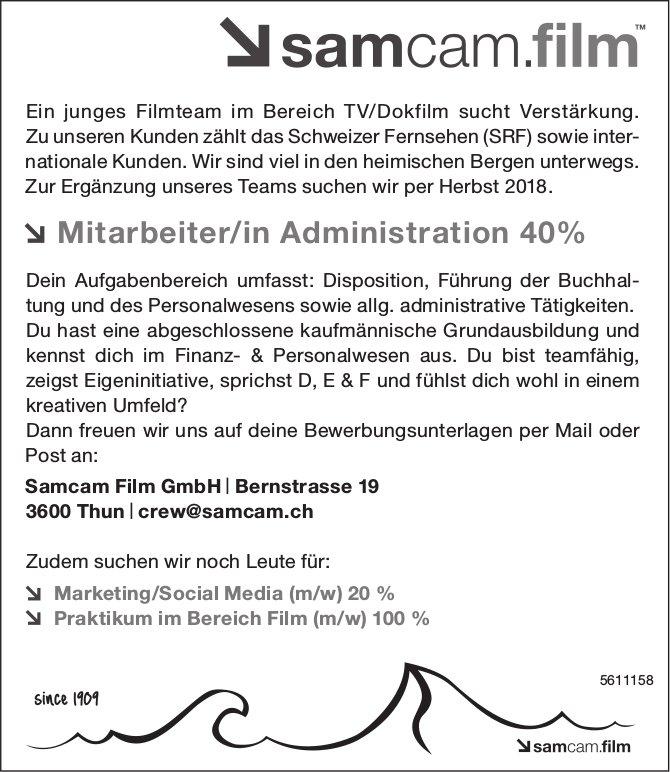 Mitarbeiter/in Administration, Samcam Film GmbH, Thun, gesucht