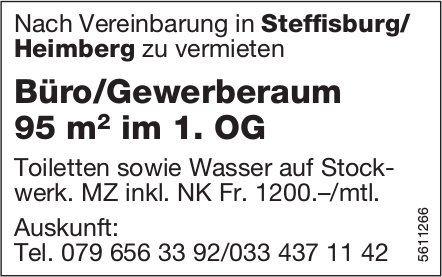 Büro/Gewerberaum 95 m2 im 1. OG in Steffisburg/ Heimberg zu vermieten
