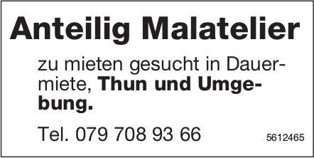 Anteilig Malatelier zu mieten gesucht in Dauermiete, Thun und Umgebung.