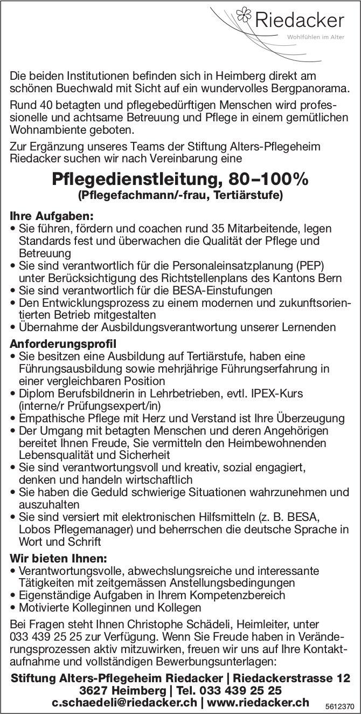 Pflegedienstleitung, 80–100%, Stiftung Alters-Pflegeheim Riedacker, Heimberg, gesucht