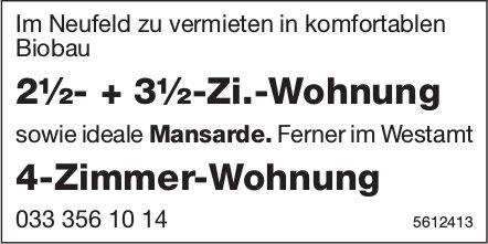2½- + 3½-Zi.-Wohnung im Neufeld sowie 4-Zimmer-Wohnung im Westamt zu vermieten