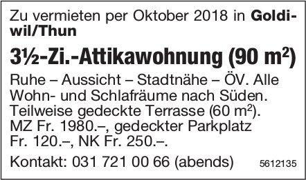 3½-Zi.-Attikawohnung (90 m2) in Goldiwil zu vermieten