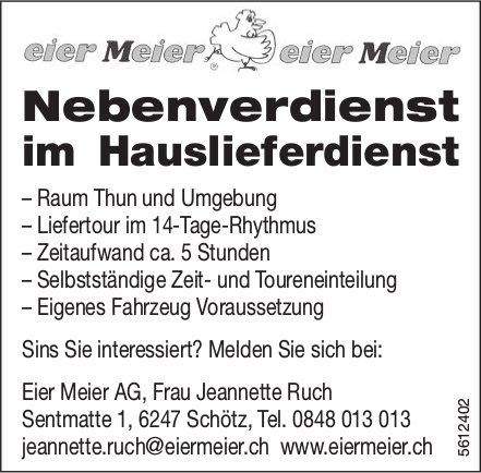 Nebenverdienst im Hauslieferdienst, Eier Meier AG, Schötz, zu vergeben