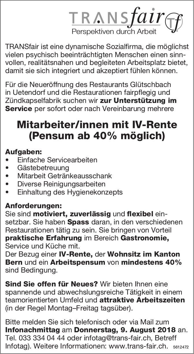 Mitarbeiter/innen mit IV-Rente (Pensum ab 40% möglich), TRANSfair, Uetendorf, gesucht