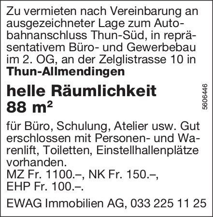 Helle Räumlichkeit 88 m2 in Thun-Allmendingen zu vermieten