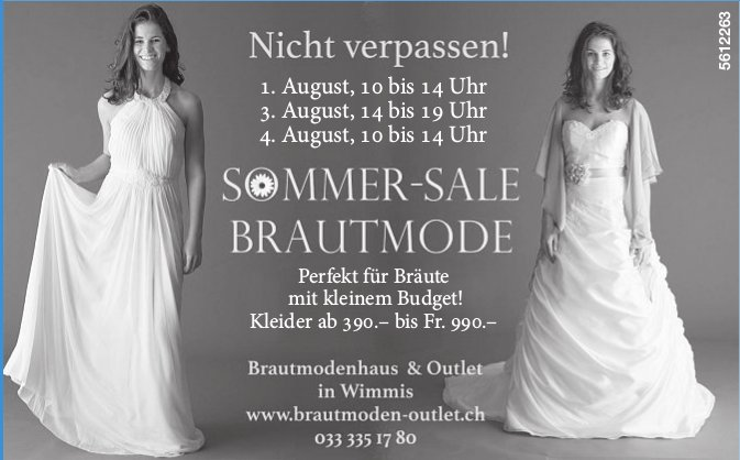 Brautmodenhaus & Outlet - Sommer-Sale Brautmode, 1./2./3. August