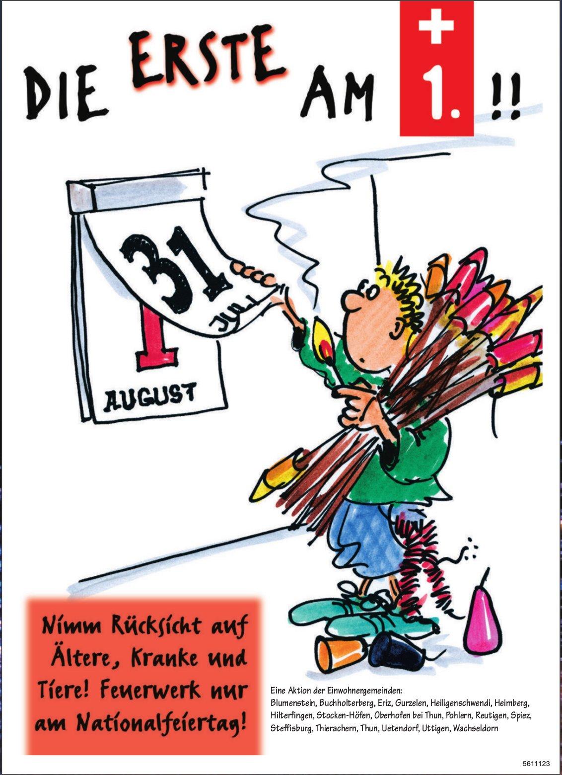 Die Erste am 1. !! Nimm Rücksicht auf Ältere, Kranke und Tiere! Feuerwerk nur am Nationalfeiertag!