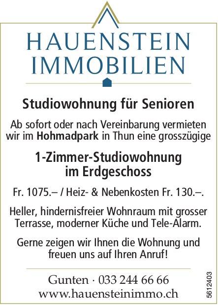 1-Zimmer-Studiowohnung für Senioren im Erdgeschoss im Hohmadpark in Thun zu vermieten