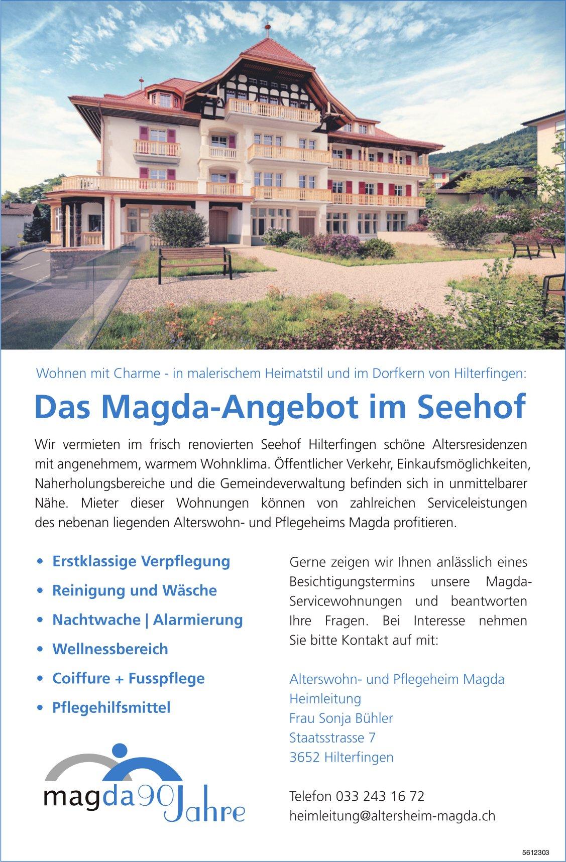 Alterswohn- und Pflegeheim Magda, Hilterfingen - Das Magda-Angebot im Seehof