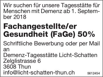 Fachangestellte/er Gesundheit (FaGe) 50%, Demenz-Tagesstätte Licht-Schatten, Thun, gesucht