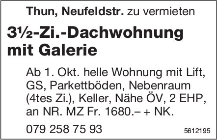 3½-Zi.-Dachwohnung mit Galerie in Thun, Neufeldstr. zu vermieten