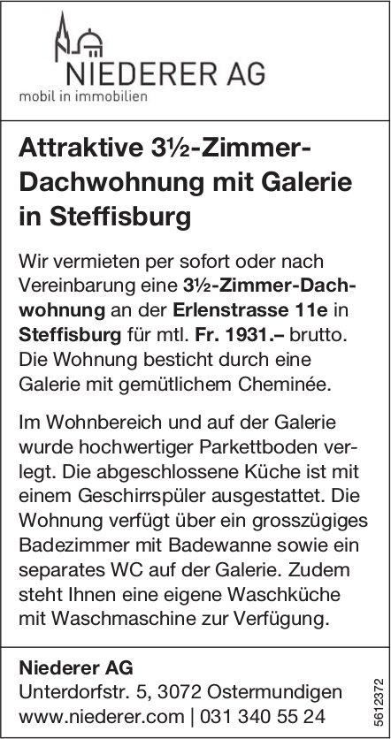 Attraktive 3½-Zimmer- Dachwohnung mit Galerie in Steffisburg zu vermieten