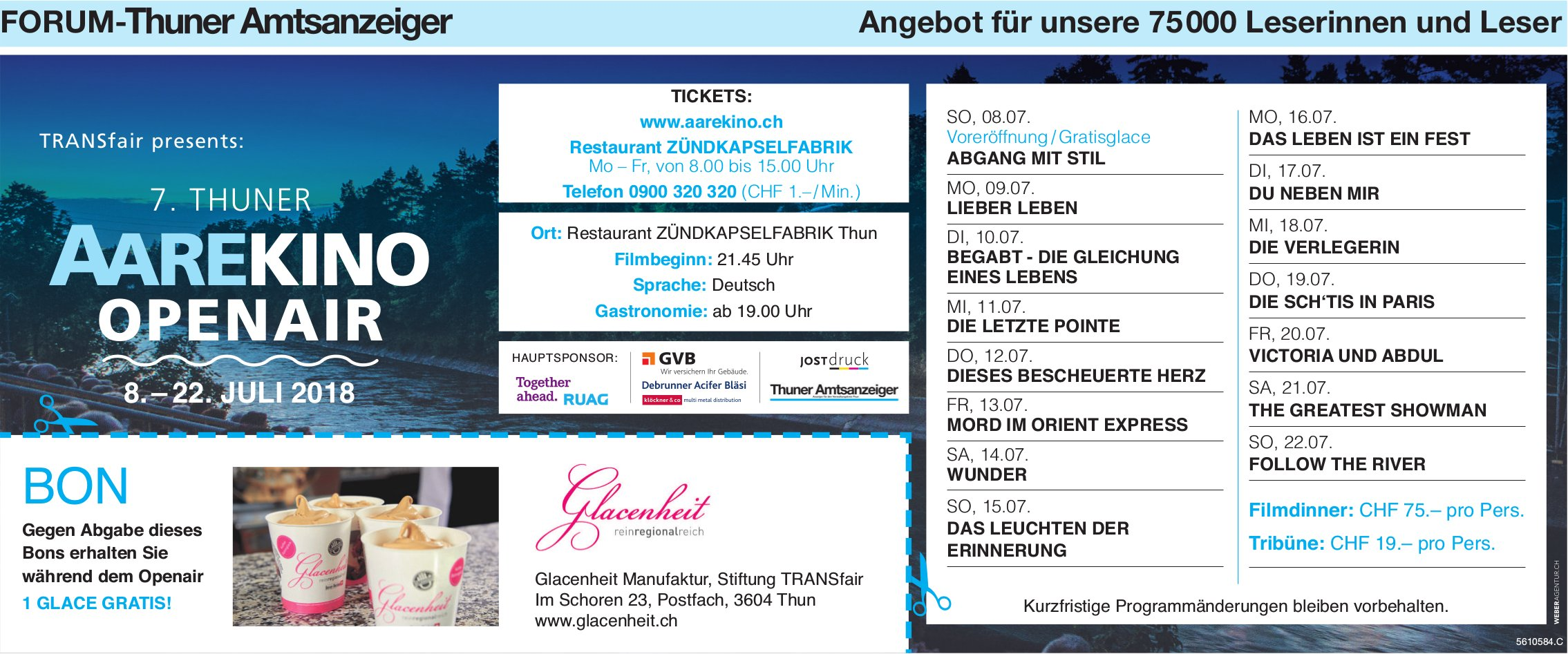 Forum-Thuner Amtsanzeiger - 7. Thuner AareKino Openair, 8.-22. Juli