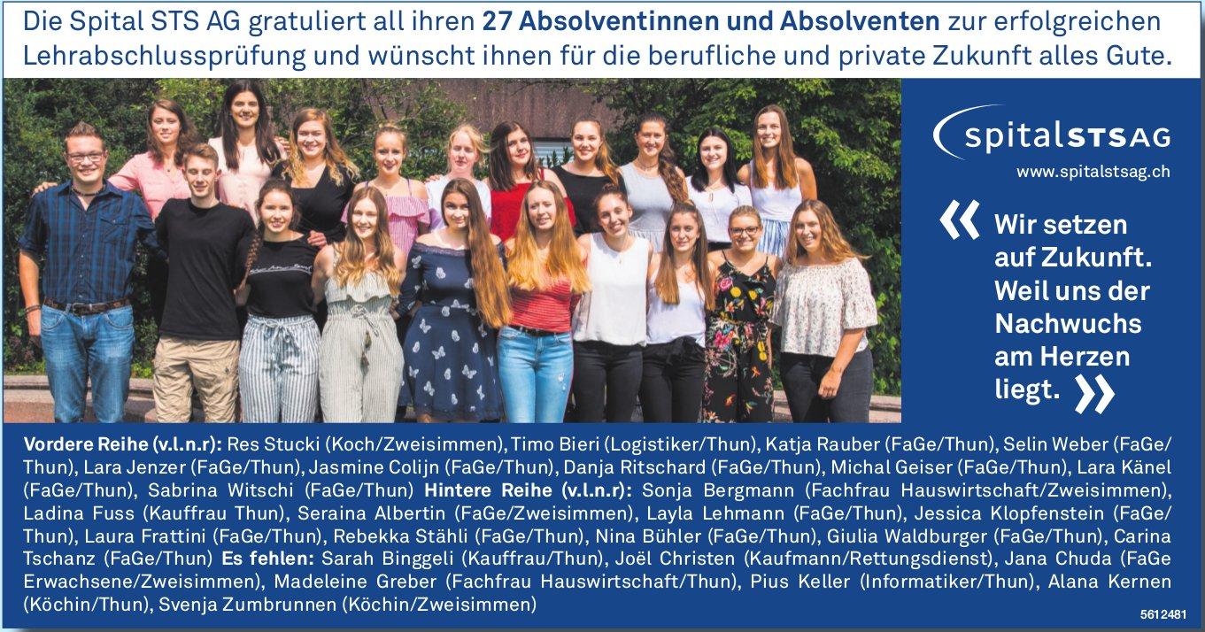 Die Spital STS AG gratuliert all ihren 27 Absolventinnen und Absolventen zur erfolgreichen LAP