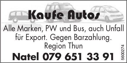 Kaufe Autos - Alle Marken, PW und Bus, auch Unfall für Export