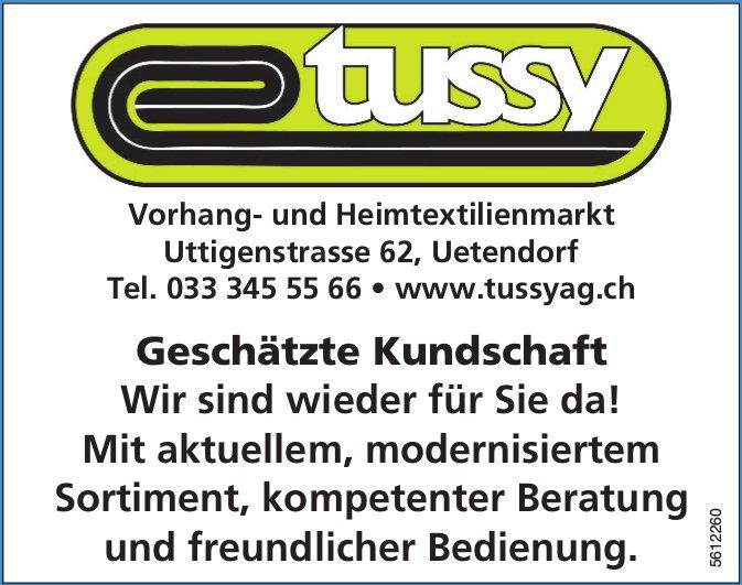 Tussy Vorhang- und Heimtextilienmarkt - Wir sind wieder für Sie da!