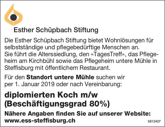 Diplomierte/r Koch/Köchin (Beschäftigungsgrad 80%), Esther Schüpbach Stiftung, gesucht