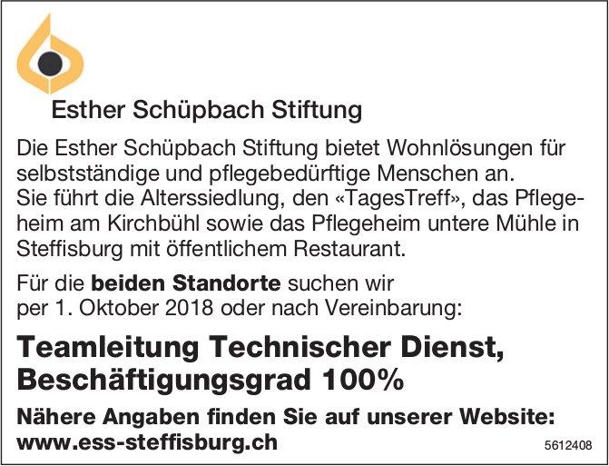 Teamleitung Technischer Dienst, 100%, Esther Schüpbach Stiftung, Steffisburg, gesucht