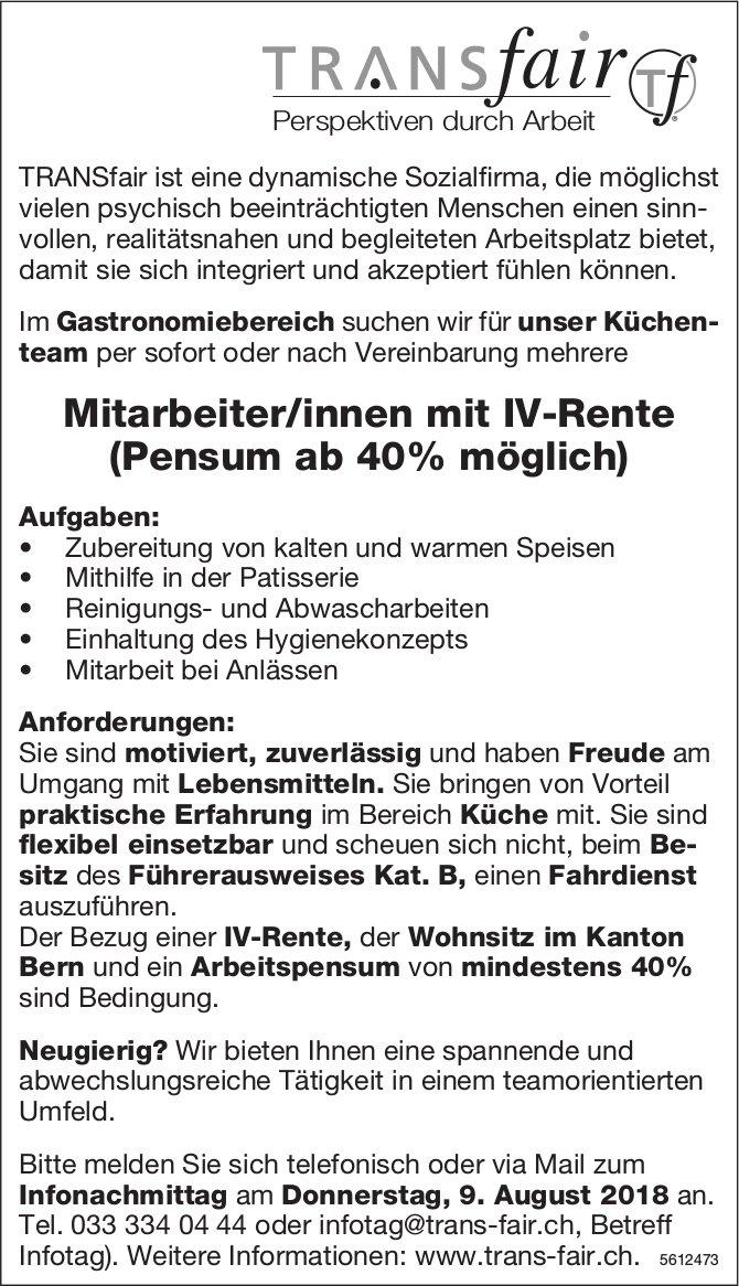 Mitarbeiter/innen mit IV-Rente (Pensum ab 40% möglich), TRANSfair, gesucht