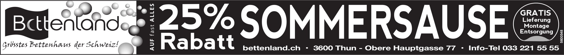 Bettenland, Thun - 25% Rabatt Sommersause