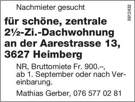 Nachmieter gesucht für schöne, zentrale 2½-Zi.-Dachwohnung an der Aarestrasse 13, 3627 Heimberg