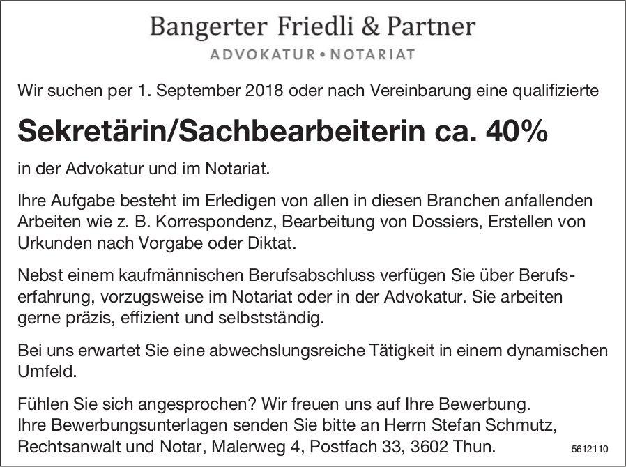 Sekretärin/Sachbearbeiterin ca. 40%, Bangerter Friedli & Partner, Thun, gesucht