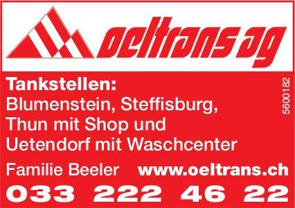 Oeltrans AG - Tankstellen: Blumenstein, Steffisburg, Thun mit Shop und Uetendorf mit Waschcenter