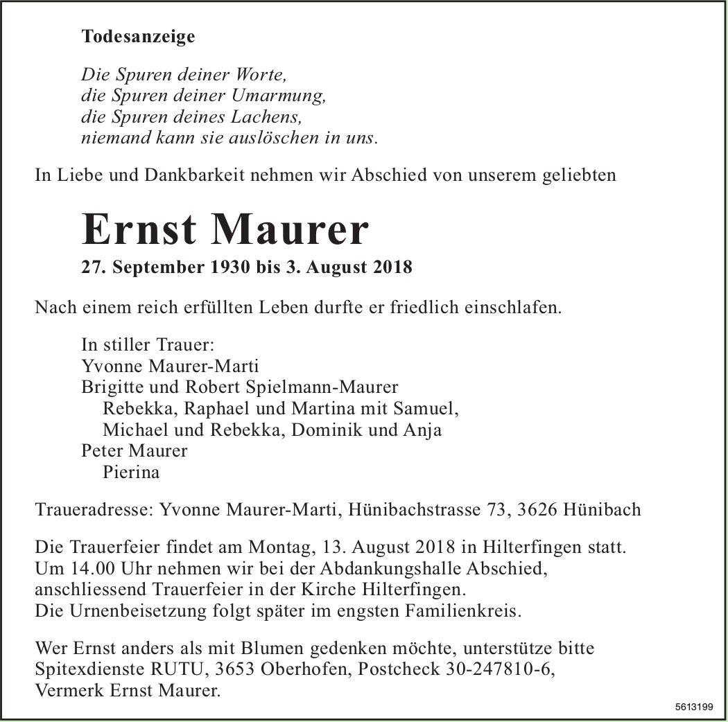 Maurer Ernst, August 2018 / TA