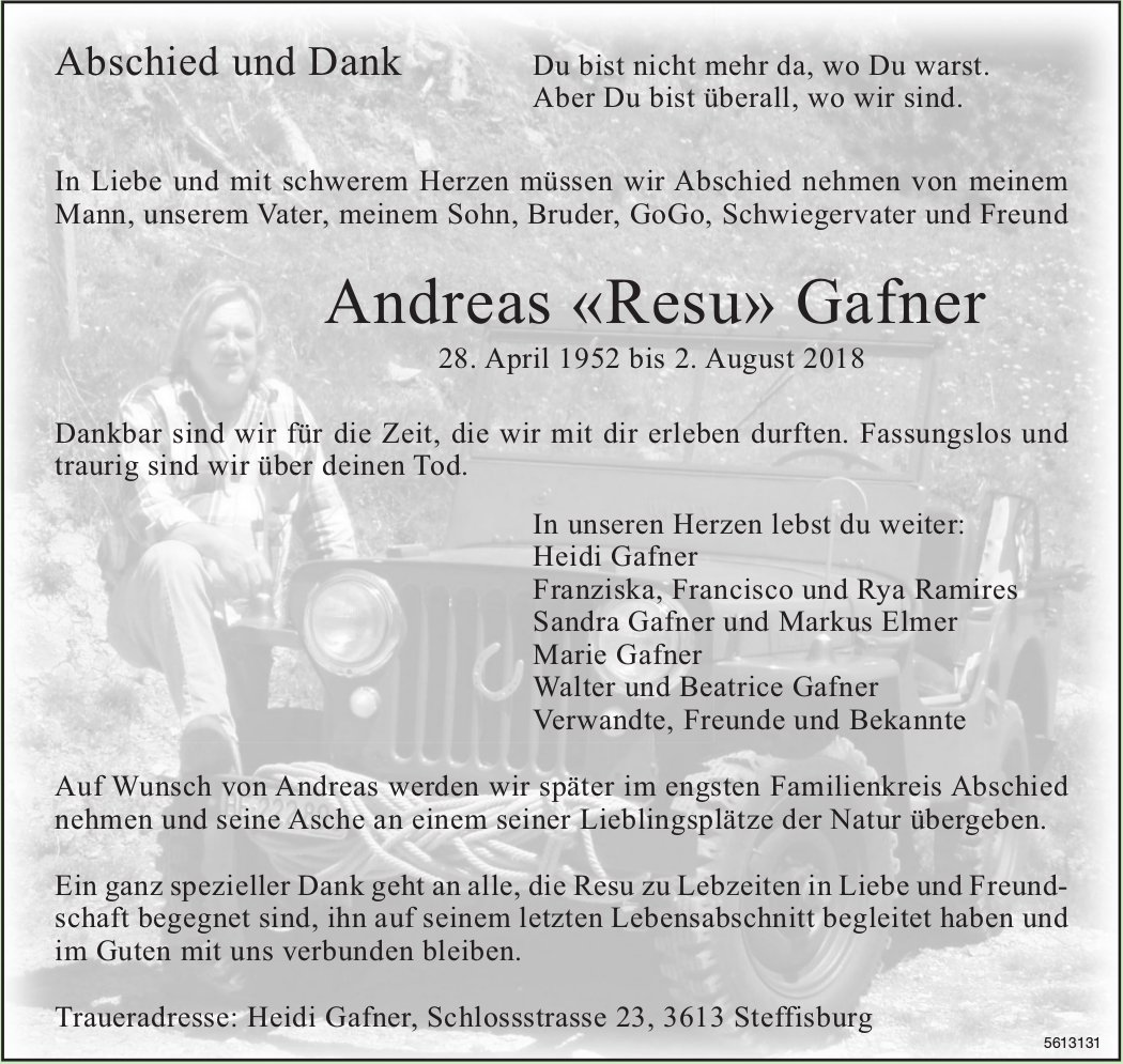 Gafner Andreas «Resu», August 2018 / TA