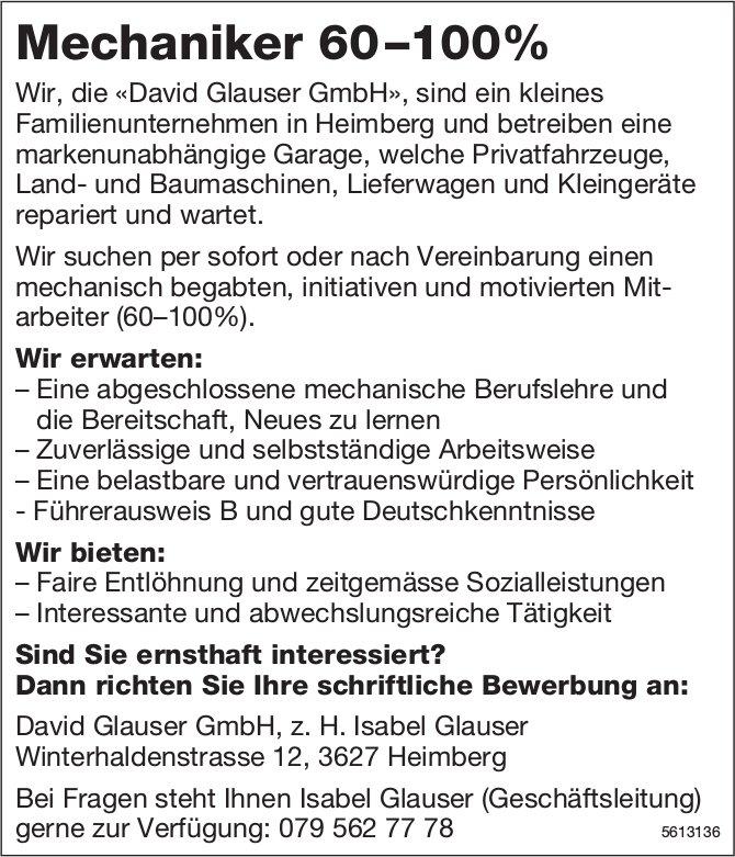 Mechaniker 60–100%, David Glauser GmbH, Heimberg, gesucht