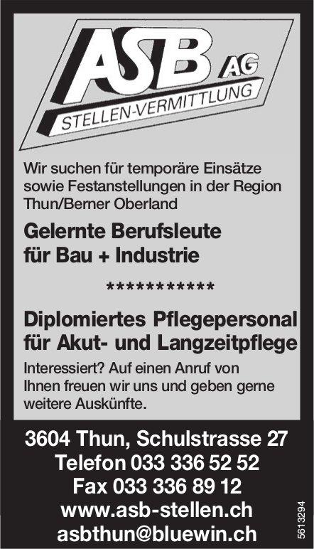 ASB AG Stellenvermittlung - Gelernte Berufsleute für Bau + Industrie, gesucht