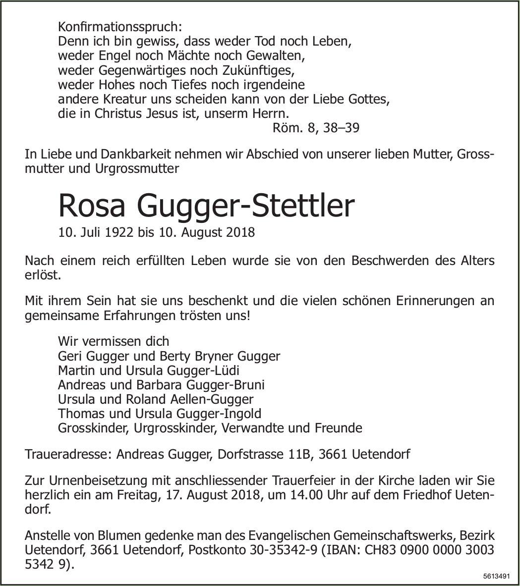 Gugger-Stettler Rosa, August 2018 / TA