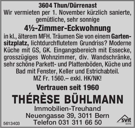 4½-Zimmer-Eckwohnung in 3604 Thun/Dürrenast zu vermieten