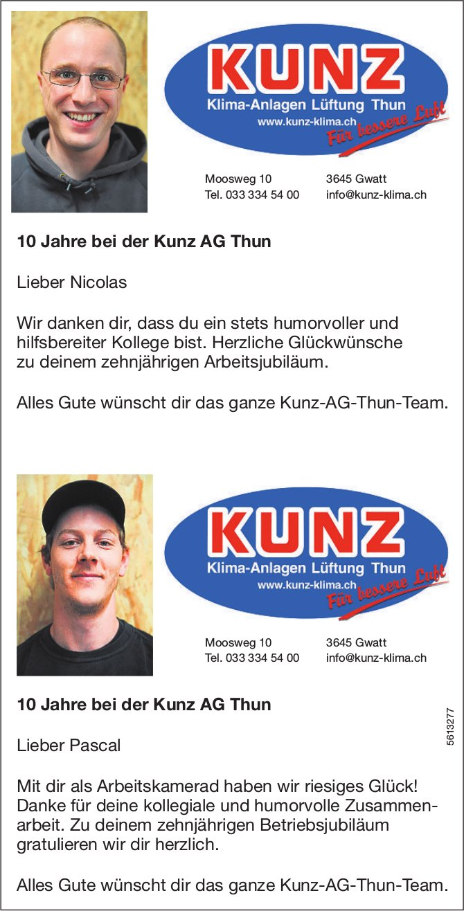Nicolas + Pascal: 10 Jahre bei der Kunz AG Thun