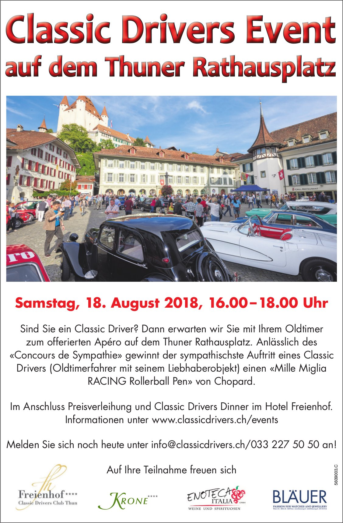 Classic Drivers Event auf dem Thuner Rathausplatz am 18. August