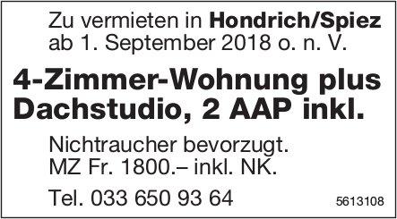4-Zimmer-Wohnung plus Dachstudio, 2 AAP inkl. in Hondrich/Spiez zu vermieten