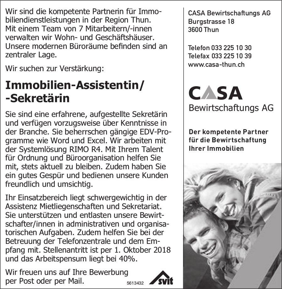 Immobilien-Assistentin/ -Sekretärin, CASA Bewirtschaftungs AG, Thun, gesucht
