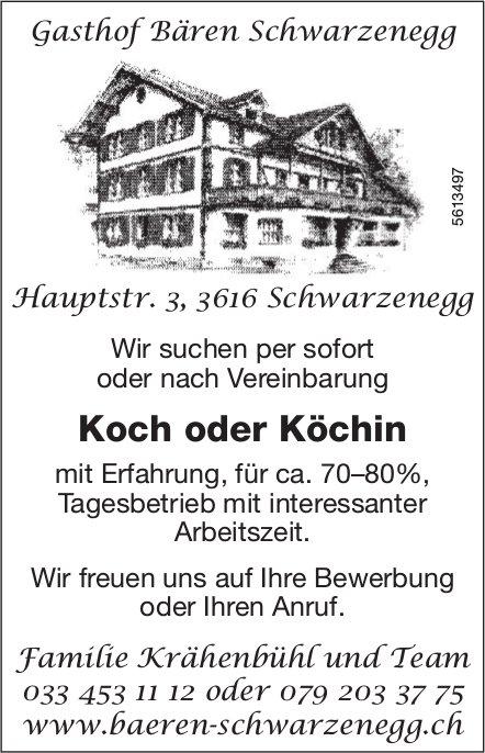Koch oder Köchin, Gasthof Bären Schwarzenegg, gesucht