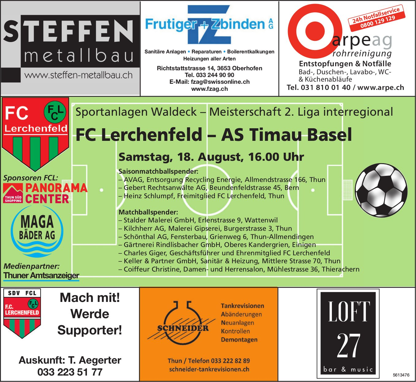 Meisterschaft 2. Liga interregional - FC Lerchenfeld vs. AS Timau Basel am 18. August