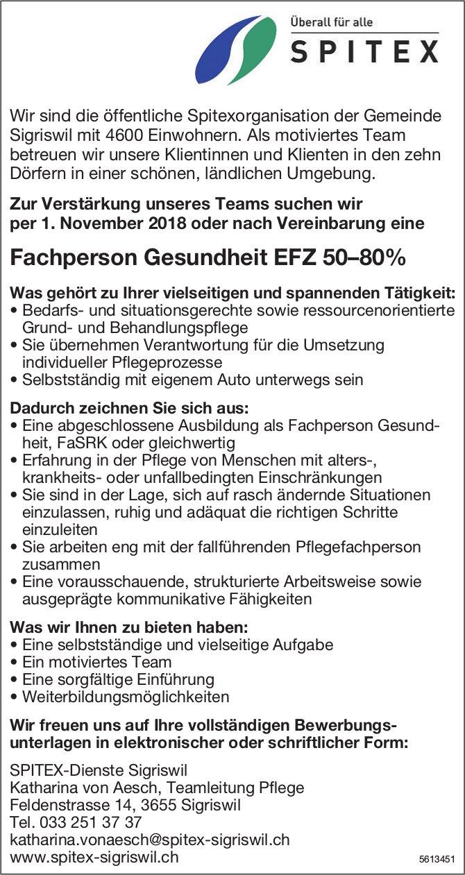 Fachperson Gesundheit EFZ 50–80%, SPITEX-Dienste Sigriswil, gesucht