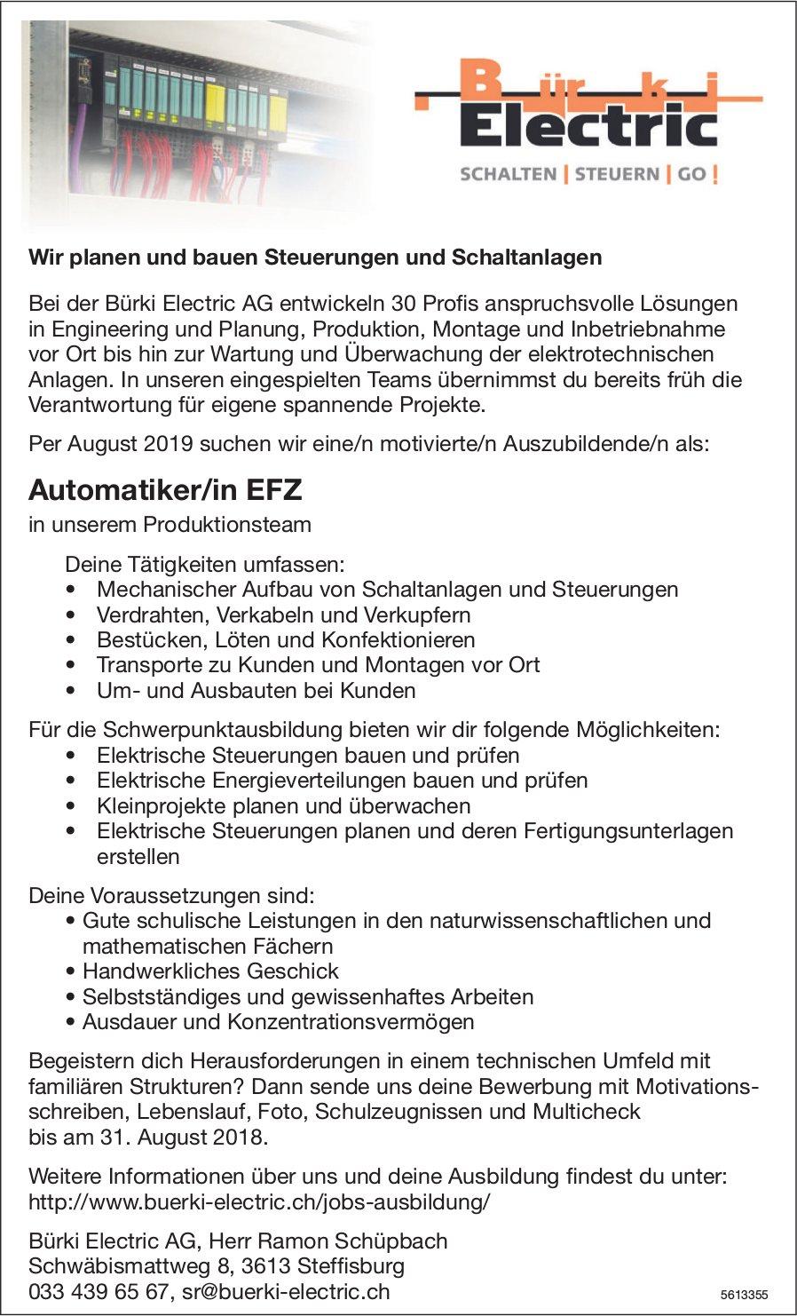 Lehrstelle als Automatiker/in EFZ, Bürki Electric AG, Steffisburg, zu vergeben