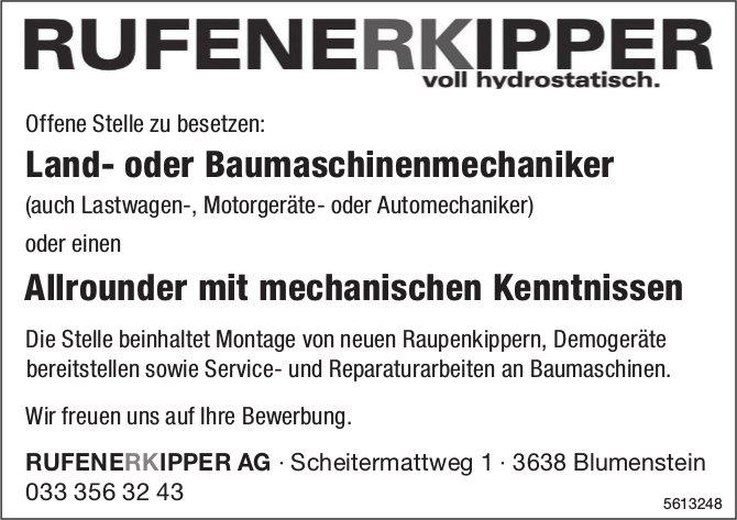Land- oder Baumaschinenmechaniker, oder Allrounder mit mechanischen Kenntnissen, Rufener Kipper AG