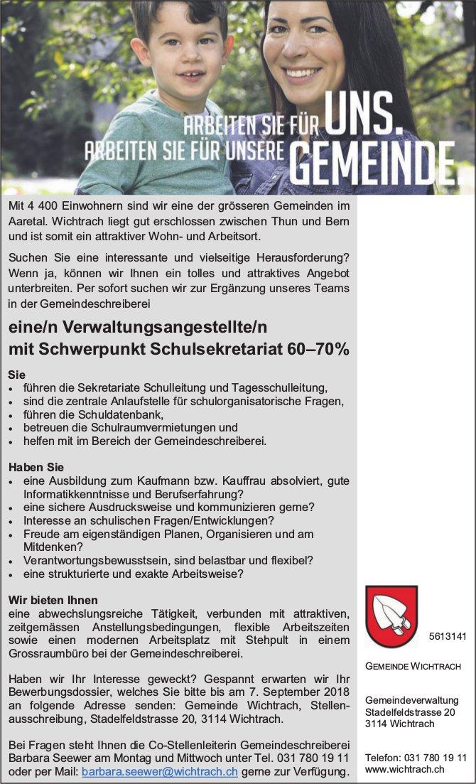 Verwaltungsangestellte/r mit Schwerpunkt Schulsekretariat 60–70%, Gemeinde Wichtrach, gesucht