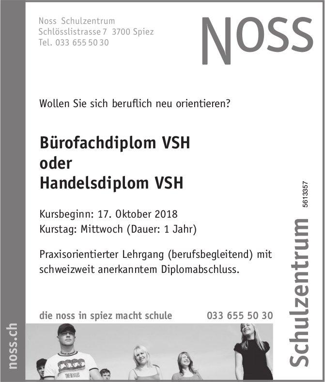 Bürofachdiplom VSH oder Handelsdiplom VSH, Noss Schulzentrum, Spiez - Kursbeginn: 17. Oktober
