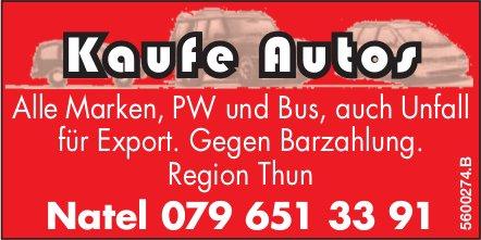 Kaufe Autos: Alle Alle Marken, PW und Bus, auch Unfall für Export