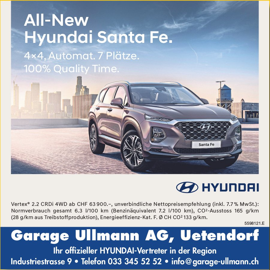 Garage Ullmann AG, Uetendorf - All-New Hyundai Santa Fe.